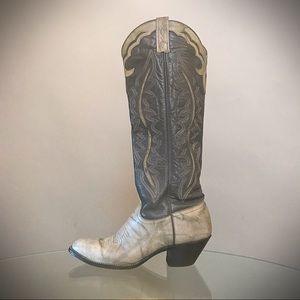 Vintage J Chisholm Grey Cowboy Boots